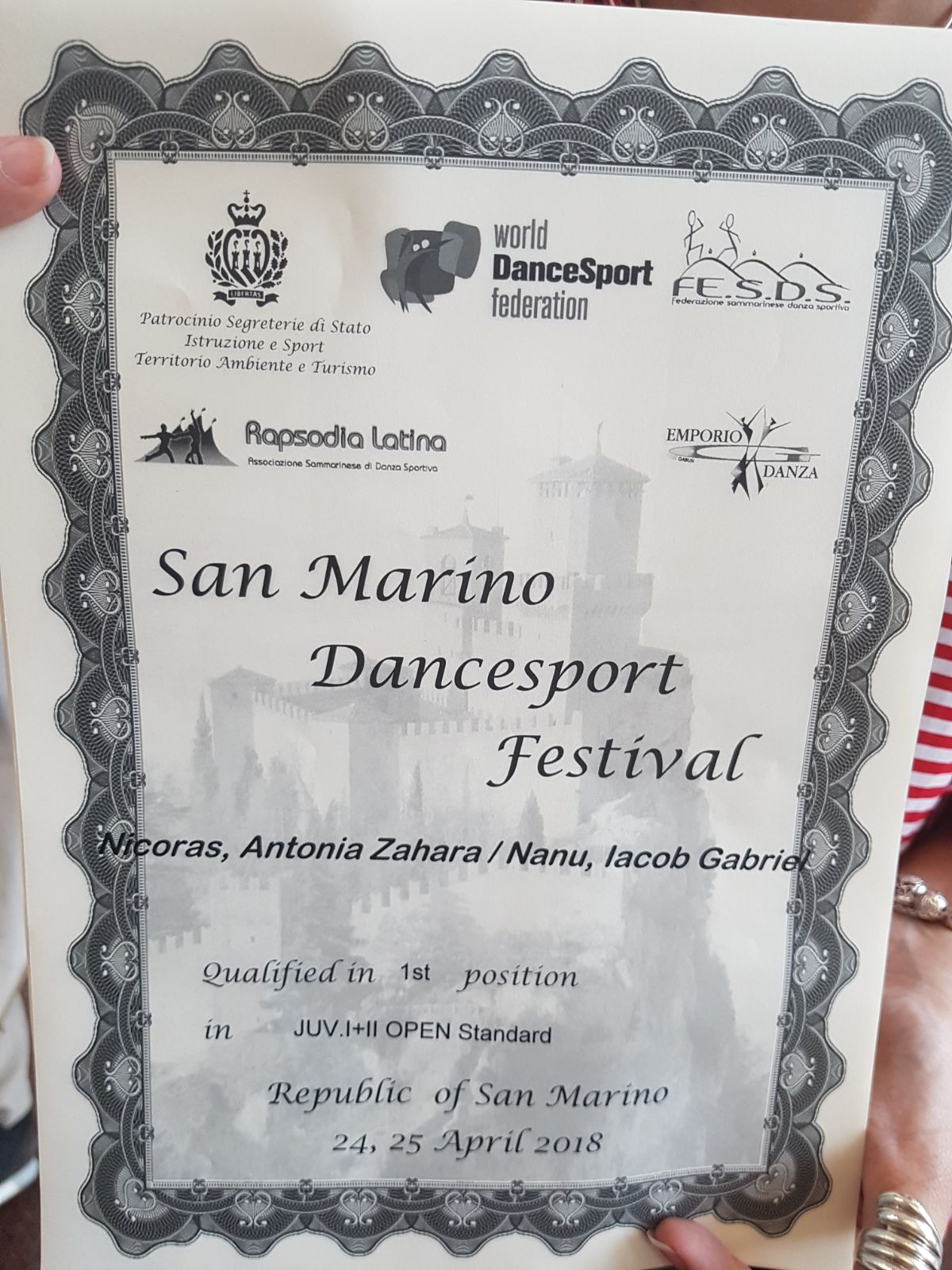 San Marino Dancesport Festival Diploma